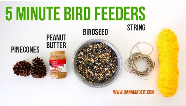 Spring break kids craft: Peanut Butter Bird Seed Pine Cone