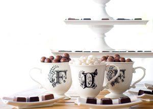 Personalized bridal chocolates by Delysia Chocolatier